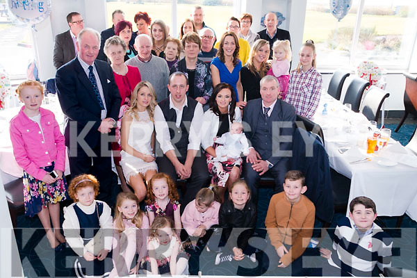 Noreen O'Neill & Kieran Sweeney surrounded by Family & Friends as they celebrate the Christening of Baby Aidan Sweeney at Jacks' Coastguard Restaurant in Cromane on Sunday.