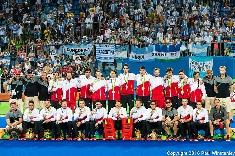 Belgium team and staff after the Men's hockey medal ceremony at the Rio 2016 Olympics at the Olympic Hockey Centre in Rio de Janeiro, Brazil.