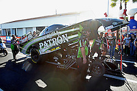 Mar. 16, 2013; Gainesville, FL, USA; Crew members for NHRA funny car driver Alexis DeJoria during qualifying for the Gatornationals at Auto-Plus Raceway at Gainesville. Mandatory Credit: Mark J. Rebilas-
