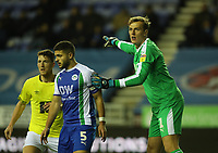 Wigan Athletic's Christian Walton, Wigan Athletic's Sam Morsy and Blackburn Rovers' Richard Smallwood<br /> <br /> Photographer Rachel Holborn/CameraSport<br /> <br /> The EFL Sky Bet Championship - Wigan Athletic v Blackburn Rovers - Wednesday 28th November 2018 - DW Stadium - Wigan<br /> <br /> World Copyright © 2018 CameraSport. All rights reserved. 43 Linden Ave. Countesthorpe. Leicester. England. LE8 5PG - Tel: +44 (0) 116 277 4147 - admin@camerasport.com - www.camerasport.com