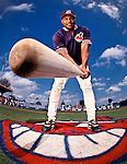Baseball All-Star Albert Belle of the Cleveland Indians photographed for Newsweek Magazine at Spring Training in Lakeland, Florida
