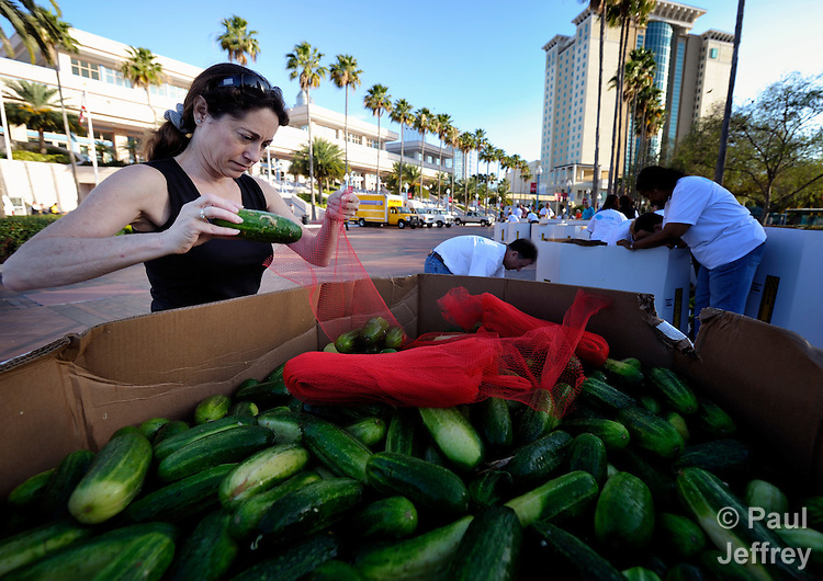 Delegates and visitors at the 2012 United Methodist General Conference in Tampa, Florida, sort and repackage cucumbers that have been gleaned and will be distributed to local food programs by the Society of Saint Andrew.