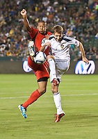 CARSON, CA – June 3, 2011: DC United forward Charlie Davies (9) and LA Galaxy midfielder Mike Magee (18) during the match between LA Galaxy and DC United at the Home Depot Center in Carson, California. Final score LA Galaxy 0, DC United 0.