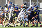 Santa Monica, CA 10/17/13 - Andrew Condon (Peninsula #45), \pj25\ and Justin Jimena (Peninsula #70) in action during the Peninsula vs Santa Monica Junior Varsity football game at Santa Monica High School.