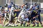 Santa Monica, CA 10/17/13 - Andrew Condon (Peninsula #45), \pj25\ and Justin Jimena (Peninsula #70) in action during the Peninsula vs Santa Monica Junior Varsity football game at Santa Monica High School.