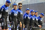 Team Sky on stage at sign on before the 2019 Gent-Wevelgem in Flanders Fields running 252km from Deinze to Wevelgem, Belgium. 31st March 2019.<br /> Picture: Eoin Clarke | Cyclefile<br /> <br /> All photos usage must carry mandatory copyright credit (© Cyclefile | Eoin Clarke)