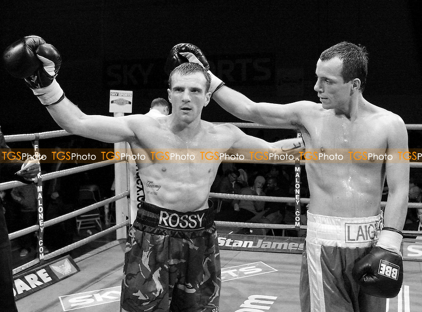 Ross Hewitt (Dagenham, camouflage shorts) defeats Kristian Laight (Nuneaton, blue shorts) in a Super Middleweight contest at Newham Leisure Centre, promoted by Frank Maloney - 31/11/07 - MANDATORY CREDIT: Gavin Ellis/TGSPHOTO. Self-Billing applies where appropriate. NO UNPAID USE. Tel: 0845 094 6026