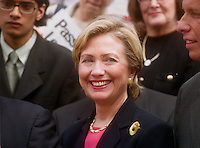 (000823-SWR08.jpg) New York, NY - 23AUG00- First Lady and NY Senatorial Candidate Hillary Rodman Clinton joined Unite, People For The American Way, the National Council of Jewish Women, Congressman Jerrold Nadler, City Council Speaker Peter Vallone, PublicAdvocate Mark Green, New York Director of the Anti-Defamation League HowieKatz, and victims of hate crimes at a City Hall press Conference today to launch a new website, UnitedAgainstHate.org, and call for passage of federal hate crimes prevention legislation.  ©Stacy Walsh RosenstockPDI