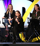 Taylor Louderman, Tina Fey and Erika Henningsen on stage during Broadwaycon at New York Hilton Midtown on January 11, 2019 in New York City.