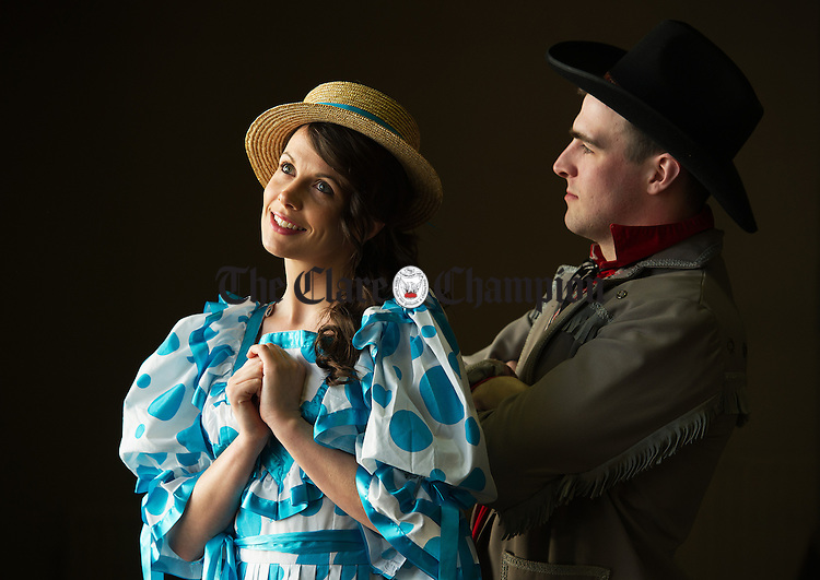 Sarah Blackwell and Fergus Crowe in rehearsals for Ennistymon Choral Society's production of  'Oklahoma' which runs from Wed April 9th  to Sunday 13th in Seaworld Hall, Lahinch. Photograph by John Kelly.