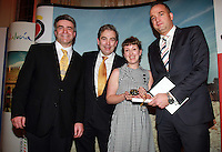 Repro Free.from left to right: Eoghan Corry from Travel Extra, Gonzalo Ceballos Director Spanish Tourist Office, Winner of the Travel Extra, Journalist of the Year Sponsored by Malta Tourist Board Susan Morrell from The Sunday Business Post and Alex Incortuaja Malta Tourist office..Travel Extra,Travel Journalist of the Year Awards at the Thomas Prior House Ballsbridge. The event which was sponsored by The Spanish Tourist board gave out 12 awards for different catagories. .This year saw a huge increase in the number of submissions from previous years, displaying the creativity and continuning innovation of travel and tourism journalism in Ireland..Collins Photos 25/1/13