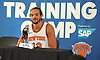 Joakim Noah #13 of the New York Knicks smirks at a question asked by a reporter during the team's Media Day held at Madison Square Garden Training Center in Greenburgh, NY on Monday, Sept. 25, 2017.