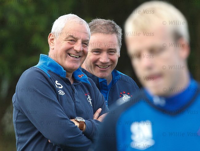 Rangers manager Walter Smith has a laugh with assistant Ally McCoist at striker Steven Naismith