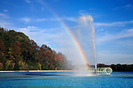 A Reflecting Pool Fountain Creates A Vivid Rainbow, Eden Park, Cincinnati, Ohio, USA