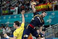 Spain's Joan Canellas (r) and Australia's Martin Najdovski during 23rd Men's Handball World Championship preliminary round match.January 15,2013. (ALTERPHOTOS/Acero) /NortePhoto