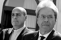 Roma, 30 Marzo 2019<br /> Nicola Zingaretti e Paolo Gentiloni.<br /> Il Partito Democratico presenta il simbolo per le elezioni europee del 26 Maggio