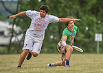 22 May 2016: The Vermont Commons School Flying Turtles take on Columbia High School JV on the second day of the Pioneer Valley Ultimate Disk Invitational Tournament at the Oxbow Marina Fields in Northampton, Massachusetts. The Turtles defeated Columbia 15-6 in their 5th game of the tournament. Mandatory Credit: Ed Wolfstein Photo *** RAW (NEF) Image File Available ***
