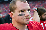 Wisconsin Badgers linebacker Chris Borland (44) looks on during warmups prior to an NCAA Big Ten Conference college football game against the Penn State Nittany Lions on November 26, 2011 in Madison, Wisconsin. The Badgers won 45-7. (Photo by David Stluka)