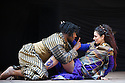 London, UK. 30.04.2014. Shakespeare's Globe presents TITUS ANDRONICUS, directed by Lucy Bailey. Picture shows: Indira Varma (as Tamora) and Obi Abili (as Aaron). Photograph © Jane Hobson.