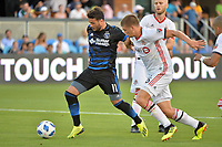 San Jose, CA - Saturday August 18, 2018: Vako, Nick Hagglund during a Major League Soccer (MLS) match between the San Jose Earthquakes and Toronto FC at Avaya Stadium.