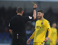 Fleetwood Town's Ched Evans is shown a yellow card by referee Brett Huxtable<br /> <br /> Photographer Kevin Barnes/CameraSport<br /> <br /> The EFL Sky Bet League One - Bristol Rovers v Fleetwood Town - Saturday 22nd December 2018 - Memorial Stadium - Bristol<br /> <br /> World Copyright &copy; 2018 CameraSport. All rights reserved. 43 Linden Ave. Countesthorpe. Leicester. England. LE8 5PG - Tel: +44 (0) 116 277 4147 - admin@camerasport.com - www.camerasport.com
