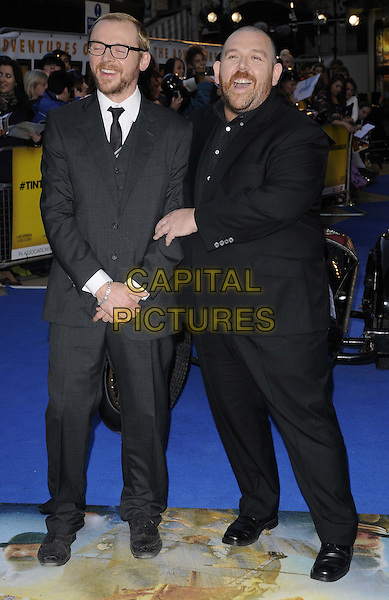 Simon Pegg & Nick Frost .'The Adventures of Tintin: The Secret of the Unicorn' UK film premiere, 55th BFI London Film Festival, Odeon West End cinema, Leicester Square, London, England..23rd October 2011.LFF full length black grey gray suit glasses beard facial hair  smiling.CAP/CAN.©Can Nguyen/Capital Pictures.