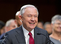"United States Attorney General Jeff Sessions smiles after giving testimony before the US Senate Select Committee on Intelligence to  ""examine certain intelligence matters relating to the 2016 United States election"" on Capitol Hill in Washington, DC on Tuesday, June 13, 2017.  In his prepared statement Attorney General Sessions said it was an ""appalling and detestable lie"" to accuse him of colluding with the Russians. Photo Credit: Ron Sachs/CNP/AdMedia"