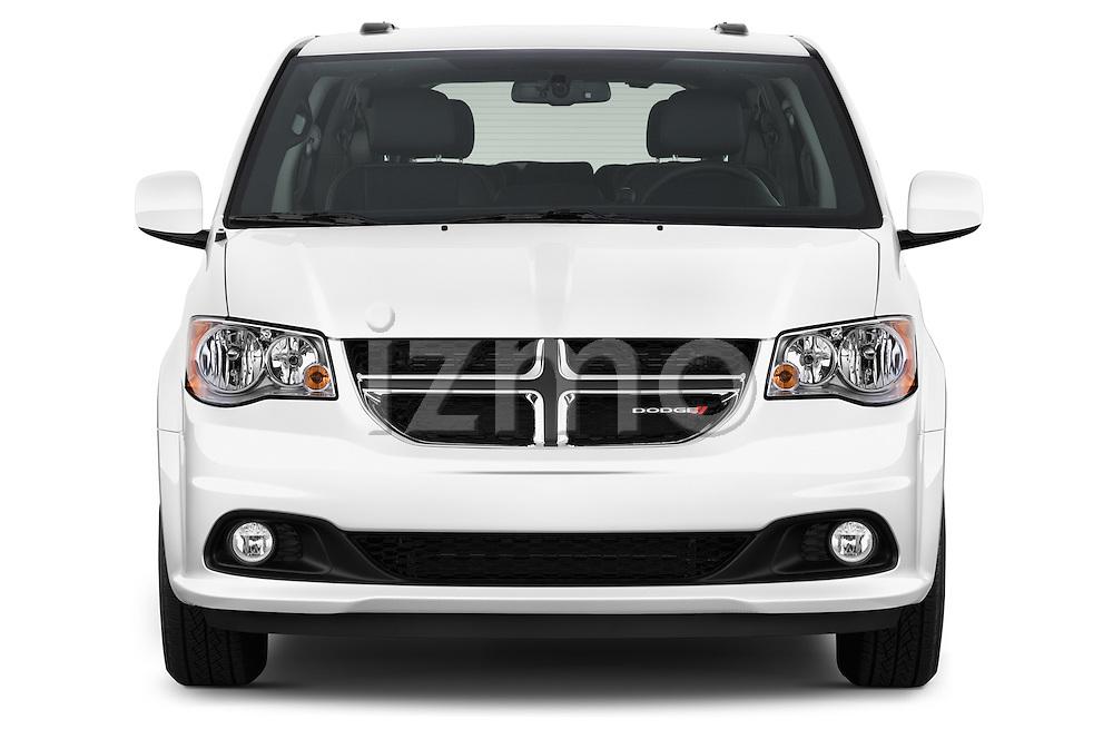 Car photography straight front view of a2015 Dodge Grand Caravan SXT PLUS 5 Door Minivan Front View