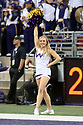 SEATTLE, WA - SEPTEMBER 14: Washington Cheer member Cassadey Porter entertained fans during the college football game between the Washington Huskies and the Hawaii Rainbow Warriors on September 14, 2019 at Husky Stadium in Seattle, WA.