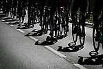 Shadows on the road during Stage 15 of the 2018 Tour de France running 181.5km from Millau to Carcassonne, France. 22nd July 2018. <br /> Picture: ASO/Pauline Ballet | Cyclefile<br /> All photos usage must carry mandatory copyright credit (&copy; Cyclefile | ASO/Pauline Ballet)