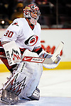 6 February 2007: Carolina Hurricanes goaltender Cam Ward warms up prior to facing the Montreal Canadiens at the Bell Centre in Montreal, Canada. ....Mandatory Photo Credit: Ed Wolfstein Photo *** Editorial Sales through Icon Sports Media *** www.iconsportsmedia.com