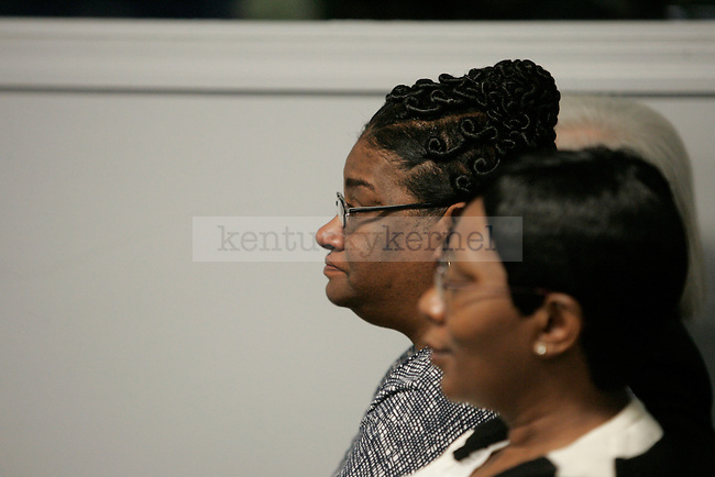 John Wall's mother watches as her son announces that he will be leaving UK after one year of play and entering the NBA draft at a press conference in Memorial Coliseum on Thursday, April 22, 2010. Photo by Scott Hannigan | Staff