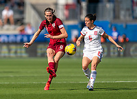 FRISCO, TX - MARCH 11: Jill Scott #8 of England passes the ball during a game between England and Spain at Toyota Stadium on March 11, 2020 in Frisco, Texas.