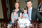 Bay Dylan Costelloe with his parents Antoinette & Sean and brother Alex who was christened in Causway church on Saturday last by Fr. Brendan Walsha and afterwards at Lowes Bar, Ballyduff.