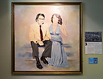Painting of Betty Payne and Bill Hooper, 1979  by Ian and Penny Erril, Chippenham Starlettes, with permission of Chippenham museum, Wiltshire, England, UK