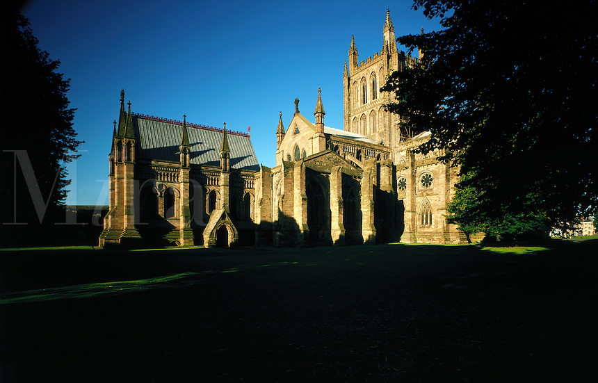 """© David Paterson.Hereford Cathedral - a fine example of medieval church architecture and home to the famous """"Mappa Mundi"""", one of the earliest surviving attempts to map the known world. Hereford, England...Keywords: cathedral, church, Christianity, holy, sacred, ancient, medieval, Hereford, England, Mappa, Mundi.."""