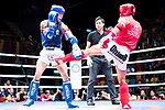 Huang Sung Sen (Red) of Taiwan fights against Lui Chun Yin (Blue) of Hong Kong in the male muay 63.5KG division weight bout during the East Asian Muaythai Championships 2017 at the Queen Elizabeth Stadium on 13 August 2017, in Hong Kong, China. Photo by Yu Chun Christopher Wong / Power Sport Images