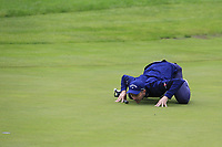 Stuart Manley (WAL) lines up his putt on the 1st green during Sunday's Final Round of the Northern Ireland Open 2018 presented by Modest Golf held at Galgorm Castle Golf Club, Ballymena, Northern Ireland. 19th August 2018.<br /> Picture: Eoin Clarke | Golffile<br /> <br /> <br /> All photos usage must carry mandatory copyright credit (&copy; Golffile | Eoin Clarke)