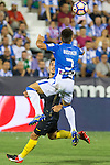 Club Deportivo Leganes's Unai Bustinza and Atletico de Madrid's Antoine Griezmann during the match of La Liga between Club Deportivo Leganes and Atletico de Madrid at Butarque Estadium in Leganes. August 27, 2016. (ALTERPHOTOS/Rodrigo Jimenez)