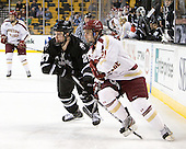 Alex Velischek (PC - 27), Steven Whitney (BC - 21) - The Boston College Eagles defeated the Providence College Friars 4-2 in their Hockey East semi-final on Friday, March 16, 2012, at TD Garden in Boston, Massachusetts.