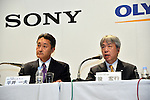 October 1, 2012, Tokyo, Japan - Kazuo Hirai, left, CEO of Sony Corp., and  President Hiroyuki Sasa ofOlympus Corp. atten a news conference in Tokyo on Monday, October 1, 2012, following the announcement of its tie-up with the scandal stricken Olympus Corp. ..Sony and Olympus have concluded a capital and business tie-up agreement to shore up the scandal-hit Japanese medical equipment and camera maker, and will set up a joint firm to expand their medical operations. With the alliance, Sony will become Olympus' leading shareholder by acquiring a stake of around 11 percent with investment of about 50 billion yen, aiming to expand its medical business as an area of potential growth.  (Photo by Natsuki Sakai/AFLO) AYF -mis-