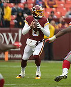 Washington Redskins quarterback Mark Sanchez (6) looks for a receiver in the first quarter against the New York Giants at FedEx Field in Landover, Maryland on Sunday, December 9, 2018.<br /> Credit: Ron Sachs / CNP<br /> (RESTRICTION: NO New York or New Jersey Newspapers or newspapers within a 75 mile radius of New York City)
