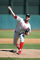 Peoria Javelinas pitcher Colby Shreve #41, of the Philadelphia Phillies organization, during an Arizona Fall League game against the Phoenix Desert Dogs at Phoenix Municipal Stadium on October 12, 2012 in Phoenix, Arizona.  Phoenix defeated Peoria 13-3.  (Mike Janes/Four Seam Images)