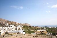 Santorini, seen from the town of Megalochori in Santorini, Greece on July 7, 2013.