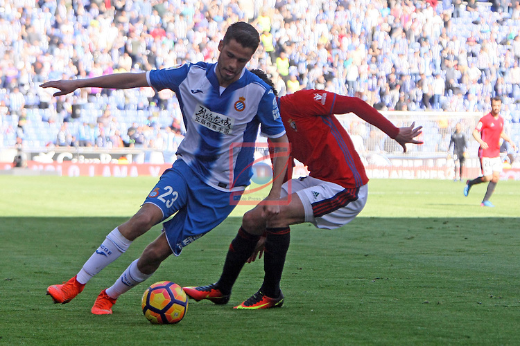 League Santander 2016/2017. Game: 24.<br /> RCD Espanyol vs CA Osasuna: 3-0.<br /> Diego Reyes vs Riviere.