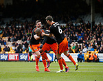 Leon Clarke of Sheffield Utd (l) celebrates scoring the second goal during the English League One match at Vale Park Stadium, Port Vale. Picture date: April 14th 2017. Pic credit should read: Simon Bellis/Sportimage