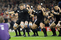 Richie McCaw of New Zealand leads the Haka with Dan Carter of New Zealand before Match 23 of the Rugby World Cup 2015 between New Zealand and Georgia - 02/10/2015 - Millennium Stadium, Cardiff<br /> Mandatory Credit: Rob Munro/Stewart Communications