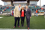 19 April 2014: Carolina RailHawks broadcasters. From left:  Color Commentator John Bouille, Sideline Reporter Amanda Dinkel, Play by Play Announcer Dean Linke. The Carolina RailHawks played the Fort Lauderdale Strikers at WakeMed Stadium in Cary, North Carolina in a 2014 North American Soccer League Spring Season match. Carolina won the game 4-1.
