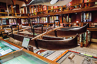 Double hulled Hawaiian fishing canoe displayed at the Bishop Museum, Honolulu