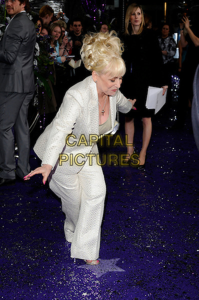 BARBARA WINDSOR.of Eastenders.Attending the British Soap Awards 2008.BBC Television Centre, Wood Lane, London, England, 3rd May 2008.full length white suit cream jacket trouser suit arms out curtsey curtsy funny.CAP/CAN.©Can Nguyen/Capital Pictures